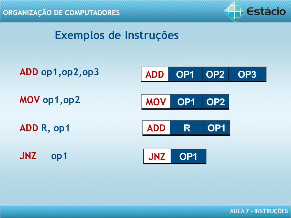 AULA 7 – INSTRUÇÕES ORGANIZAÇÃO DE COMPUTADORES ADD op1,op2,op3 MOV op1,op2 ADD R, op1 JNZ op1 ADD OP1OP2OP3 MOV OP1OP2 ADD ROP1 JNZ OP1 Exemplos de I