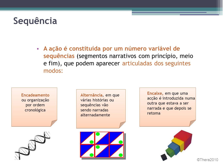 Sequência • A ação é constituída por um número variável de sequências (segmentos narrativos com princípio, meio e fim), que podem aparecer articuladas