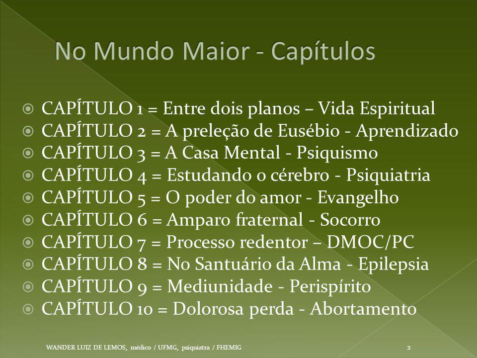  CAPÍTULO 1 = Entre dois planos – Vida Espiritual  CAPÍTULO 2 = A preleção de Eusébio - Aprendizado  CAPÍTULO 3 = A Casa Mental - Psiquismo  CAPÍT