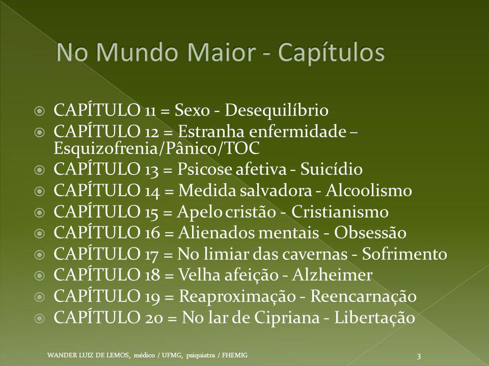  CAPÍTULO 11 = Sexo - Desequilíbrio  CAPÍTULO 12 = Estranha enfermidade – Esquizofrenia/Pânico/TOC  CAPÍTULO 13 = Psicose afetiva - Suicídio  CAPÍ