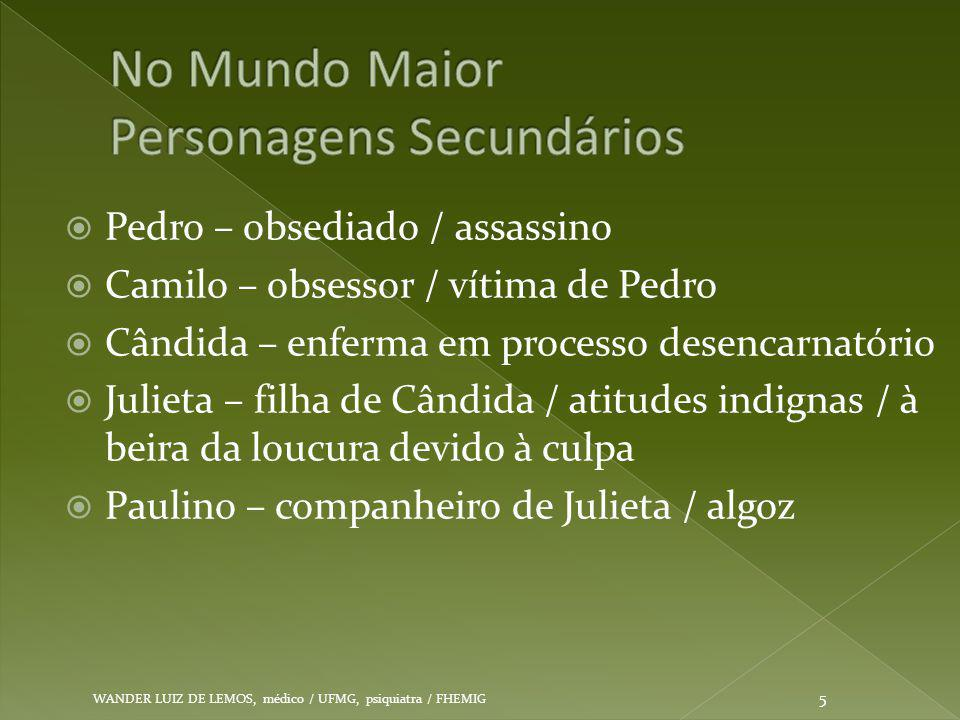  Pedro – obsediado / assassino  Camilo – obsessor / vítima de Pedro  Cândida – enferma em processo desencarnatório  Julieta – filha de Cândida / a