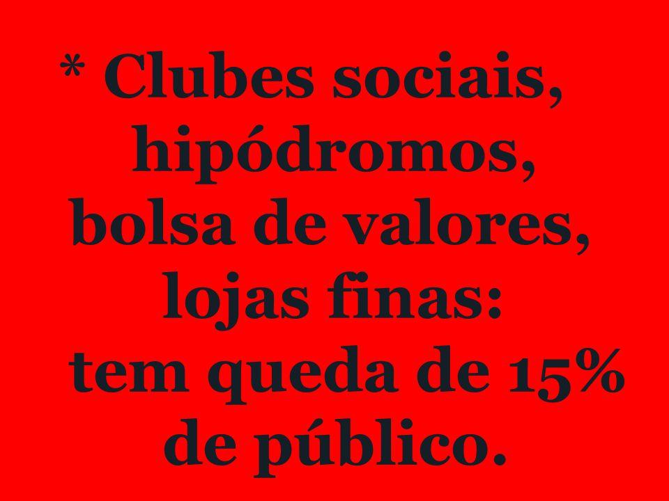 * Clubes sociais, hipódromos, bolsa de valores, lojas finas: tem queda de 15% de público.