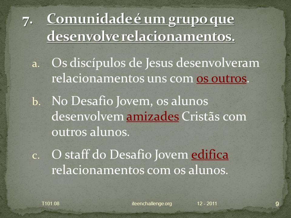 a. Os discípulos de Jesus desenvolveram relacionamentos uns com os outros.