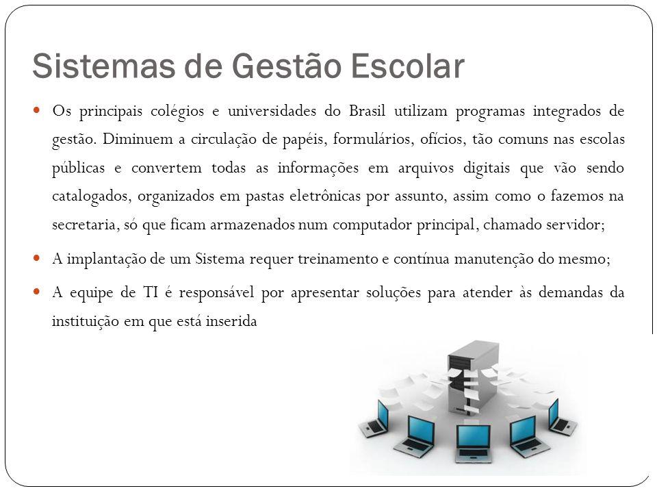 Sistemas de Gestão Escolar  Os principais colégios e universidades do Brasil utilizam programas integrados de gestão. Diminuem a circulação de papéis