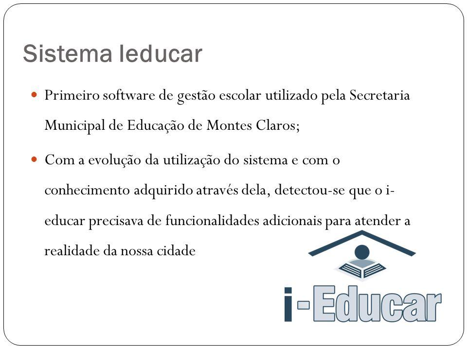  Primeiro software de gestão escolar utilizado pela Secretaria Municipal de Educação de Montes Claros;  Com a evolução da utilização do sistema e com o conhecimento adquirido através dela, detectou-se que o i- educar precisava de funcionalidades adicionais para atender a realidade da nossa cidade Sistema Ieducar