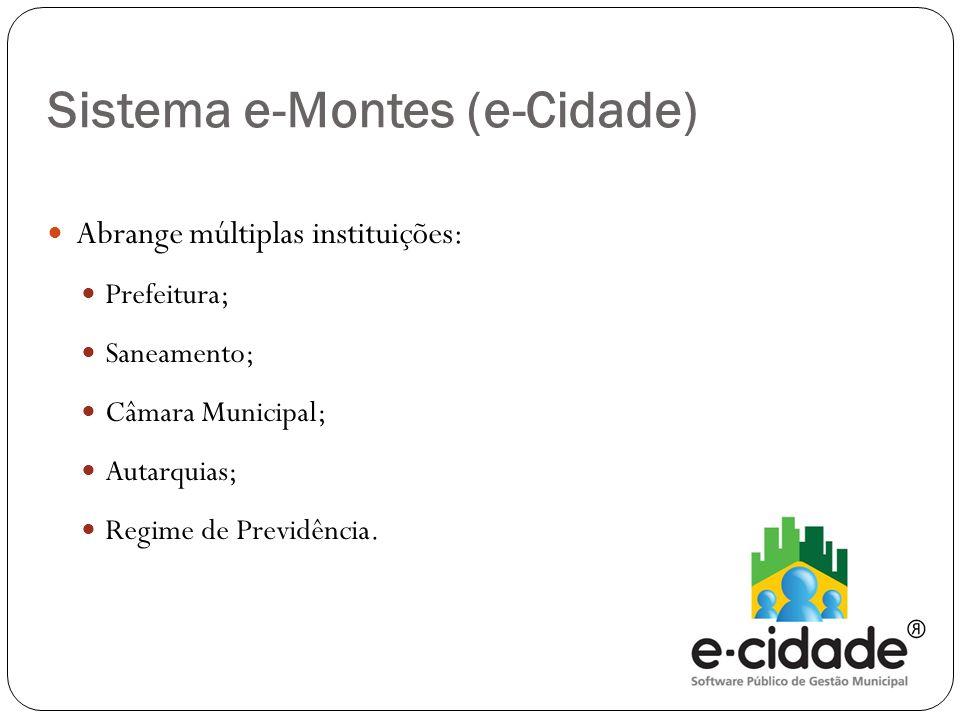  Abrange múltiplas instituições:  Prefeitura;  Saneamento;  Câmara Municipal;  Autarquias;  Regime de Previdência. Sistema e-Montes (e-Cidade)
