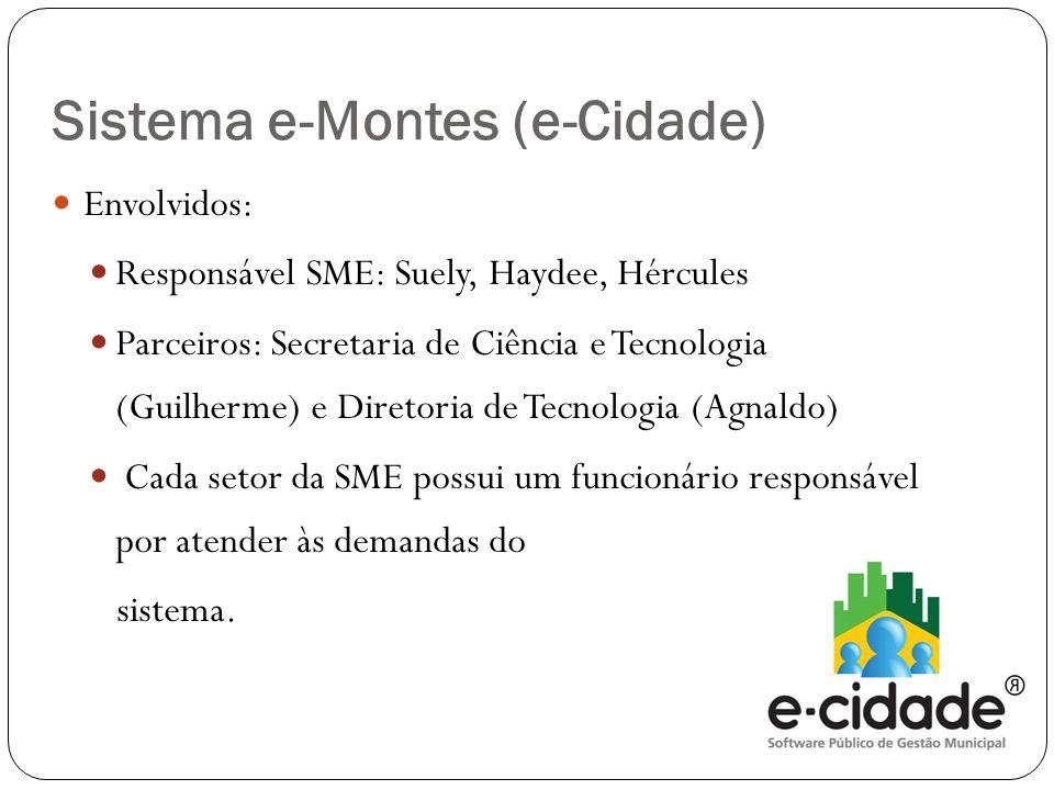  Envolvidos:  Responsável SME: Suely, Haydee, Hércules  Parceiros: Secretaria de Ciência e Tecnologia (Guilherme) e Diretoria de Tecnologia (Agnaldo)  Cada setor da SME possui um funcionário responsável por atender às demandas do sistema.