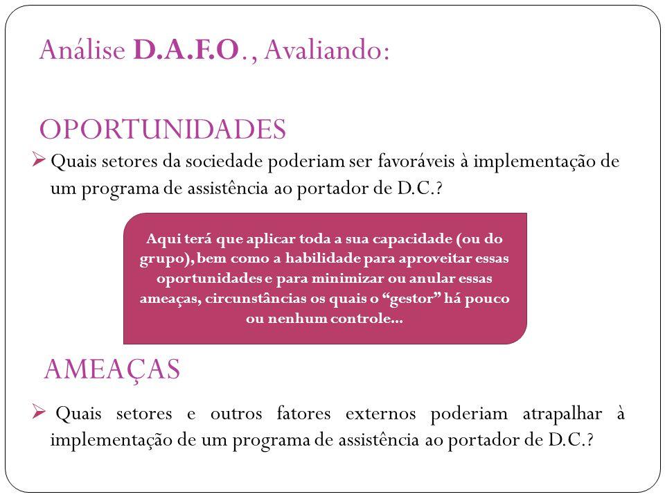 Análise D.A.F.O., Avaliando: OPORTUNIDADES AMEAÇAS  Quais setores da sociedade poderiam ser favoráveis à implementação de um programa de assistência