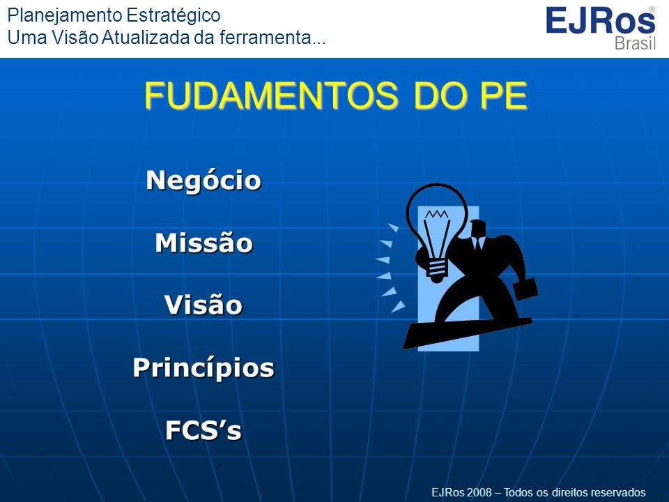 EJRos 2008 – Todos os direitos reservados Planejamento Estratégico Uma Visão Atualizada da ferramenta...NegócioMissãoVisãoPrincípiosFCS's FUDAMENTOS D