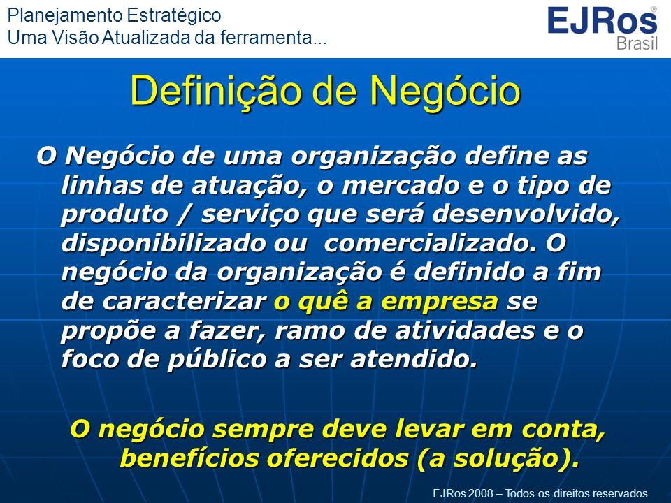 EJRos 2008 – Todos os direitos reservados Planejamento Estratégico Uma Visão Atualizada da ferramenta... Definição de Negócio O Negócio de uma organiz
