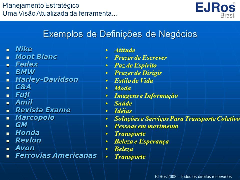 EJRos 2008 – Todos os direitos reservados Planejamento Estratégico Uma Visão Atualizada da ferramenta... Exemplos de Definições de Negócios  Nike  M