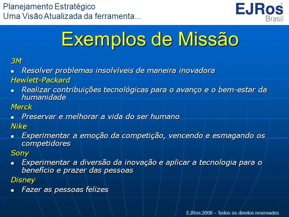 EJRos 2008 – Todos os direitos reservados Planejamento Estratégico Uma Visão Atualizada da ferramenta... Exemplos de Missão 3M  Resolver problemas in