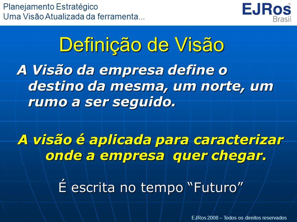 EJRos 2008 – Todos os direitos reservados Planejamento Estratégico Uma Visão Atualizada da ferramenta... Definição de Visão A Visão da empresa define
