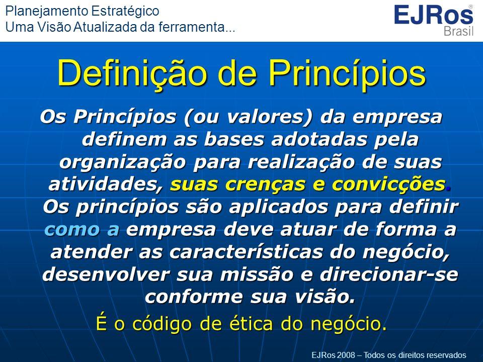 EJRos 2008 – Todos os direitos reservados Planejamento Estratégico Uma Visão Atualizada da ferramenta... Definição de Princípios Os Princípios (ou val