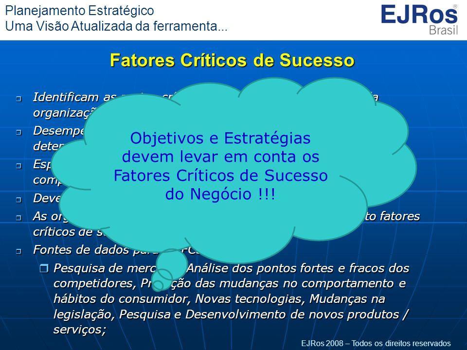 EJRos 2008 – Todos os direitos reservados Planejamento Estratégico Uma Visão Atualizada da ferramenta... Fatores Críticos de Sucesso r Identificam as