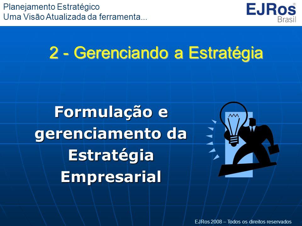 EJRos 2008 – Todos os direitos reservados Planejamento Estratégico Uma Visão Atualizada da ferramenta... Formulação e gerenciamento da Estratégia Empr