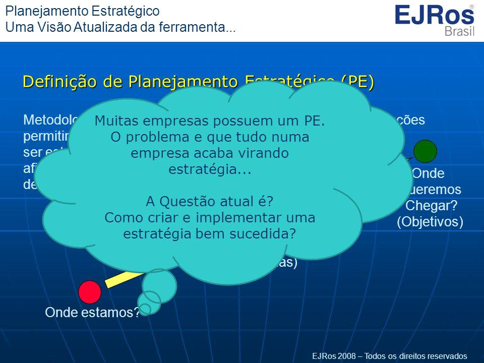 EJRos 2008 – Todos os direitos reservados Planejamento Estratégico Uma Visão Atualizada da ferramenta... Definição de Planejamento Estratégico (PE) On