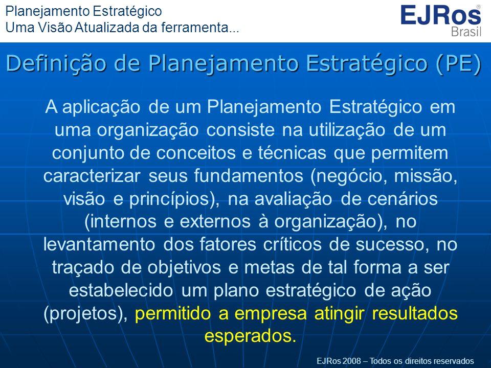 EJRos 2008 – Todos os direitos reservados Planejamento Estratégico Uma Visão Atualizada da ferramenta... Definição de Planejamento Estratégico (PE) A