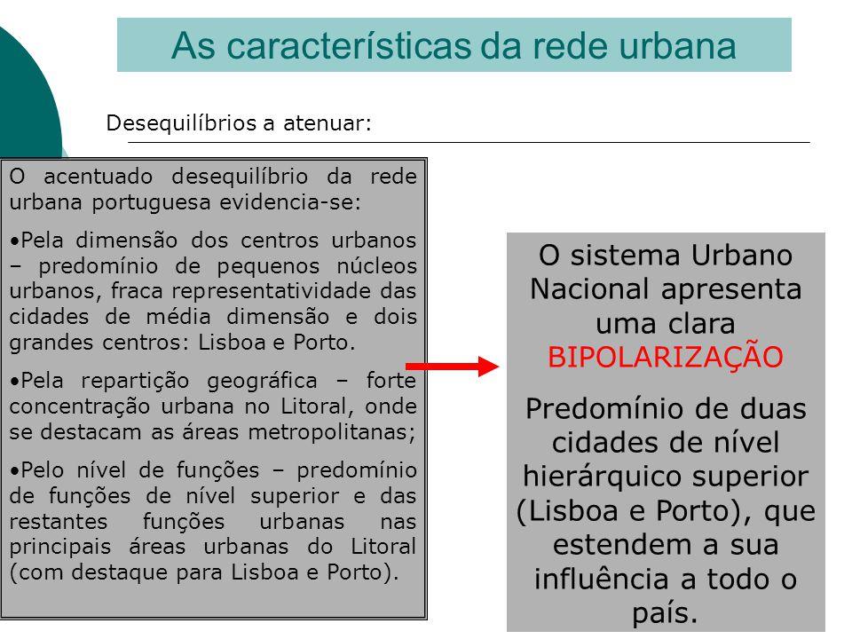 As características da rede urbana Desequilíbrios a atenuar: O acentuado desequilíbrio da rede urbana portuguesa evidencia-se: •Pela dimensão dos centr