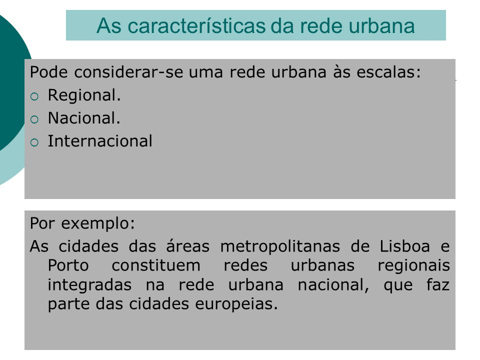 Pode considerar-se uma rede urbana às escalas:  Regional.  Nacional.  Internacional As características da rede urbana Por exemplo: As cidades das á