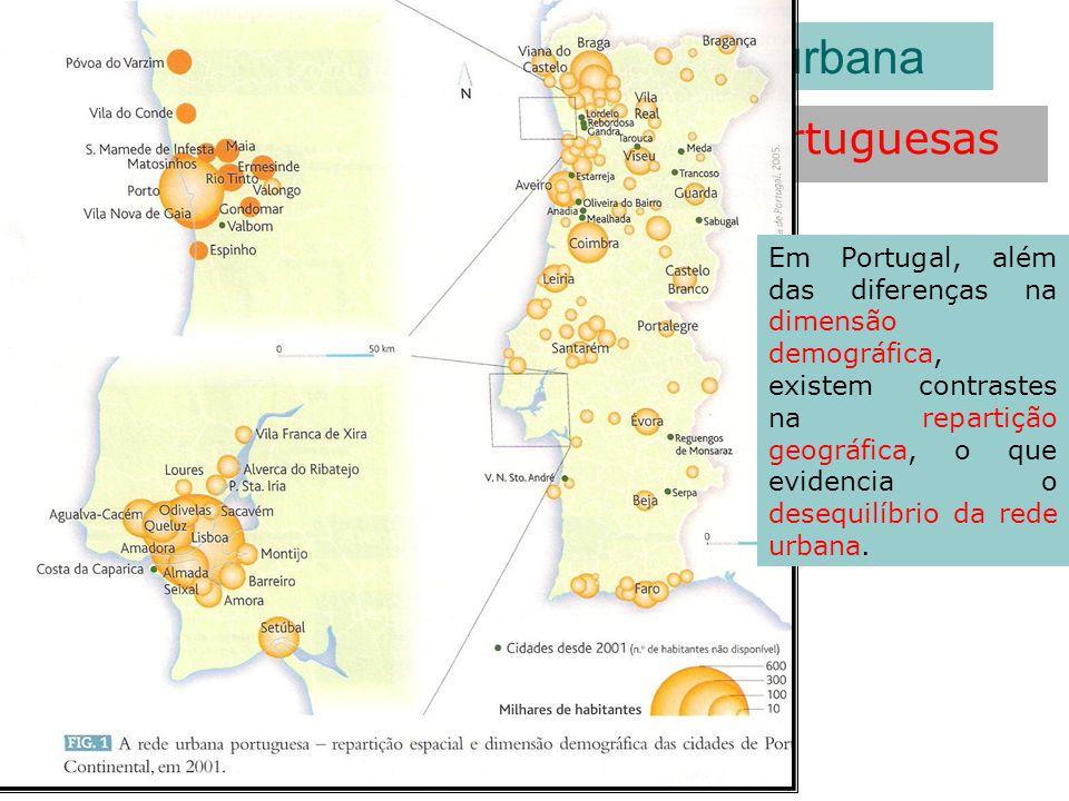 Repartição espacial das cidades portuguesas As características da rede urbana Em Portugal, além das diferenças na dimensão demográfica, existem contra