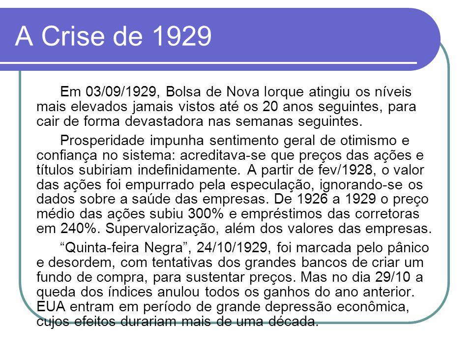 A Crise de 1929 Em 03/09/1929, Bolsa de Nova Iorque atingiu os níveis mais elevados jamais vistos até os 20 anos seguintes, para cair de forma devasta