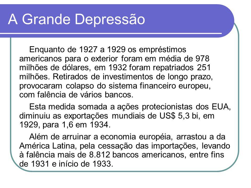 A Grande Depressão Enquanto de 1927 a 1929 os empréstimos americanos para o exterior foram em média de 978 milhões de dólares, em 1932 foram repatriad