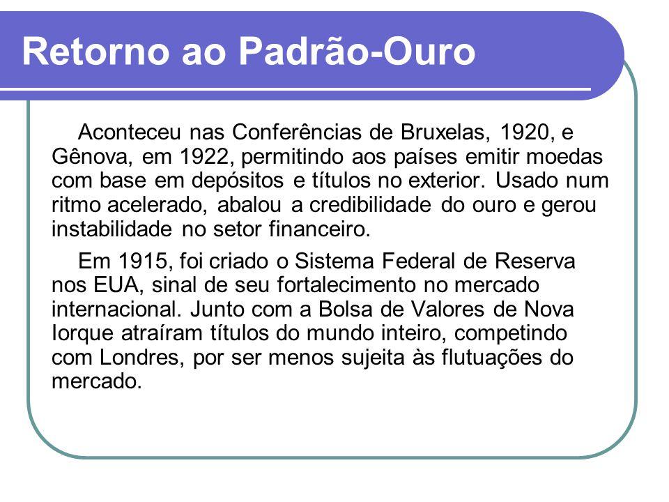 Retorno ao Padrão-Ouro Aconteceu nas Conferências de Bruxelas, 1920, e Gênova, em 1922, permitindo aos países emitir moedas com base em depósitos e tí