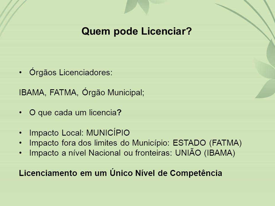 •Órgãos Licenciadores: IBAMA, FATMA, Órgão Municipal; •O que cada um licencia.