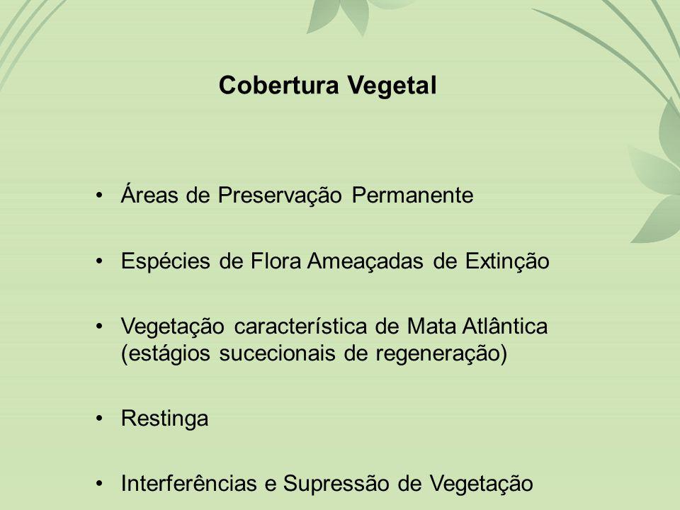 •Áreas de Preservação Permanente •Espécies de Flora Ameaçadas de Extinção •Vegetação característica de Mata Atlântica (estágios sucecionais de regeneração) •Restinga •Interferências e Supressão de Vegetação Cobertura Vegetal
