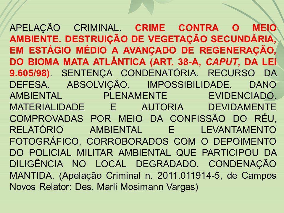 APELAÇÃO CRIMINAL.CRIME CONTRA O MEIO AMBIENTE.