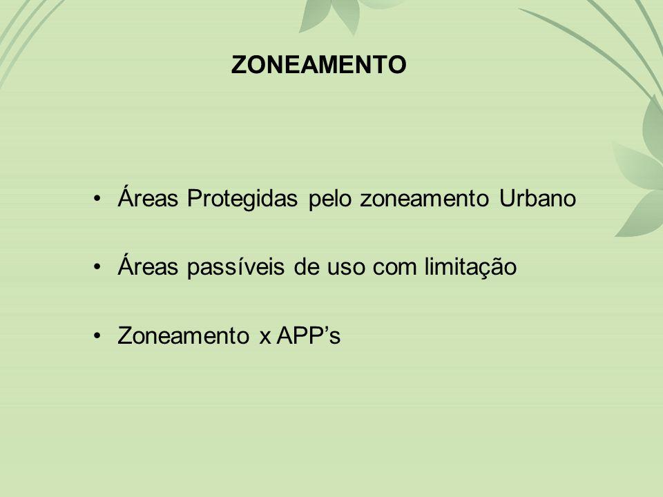 •Áreas Protegidas pelo zoneamento Urbano •Áreas passíveis de uso com limitação •Zoneamento x APP's ZONEAMENTO