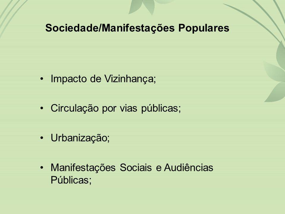 •Impacto de Vizinhança; •Circulação por vias públicas; •Urbanização; •Manifestações Sociais e Audiências Públicas; Sociedade/Manifestações Populares