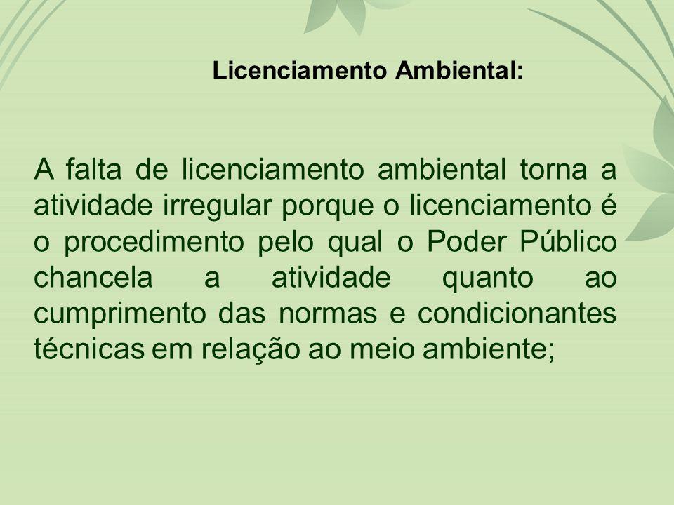 A falta de licenciamento ambiental torna a atividade irregular porque o licenciamento é o procedimento pelo qual o Poder Público chancela a atividade quanto ao cumprimento das normas e condicionantes técnicas em relação ao meio ambiente; Licenciamento Ambiental: