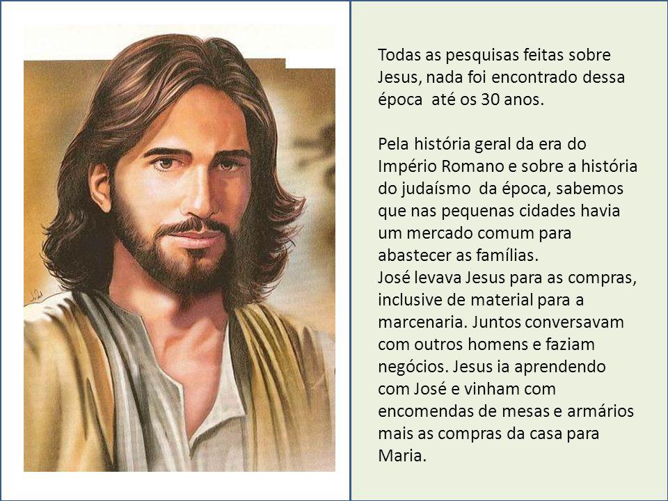 Todas as pesquisas feitas sobre Jesus, nada foi encontrado dessa época até os 30 anos. Pela história geral da era do Império Romano e sobre a história