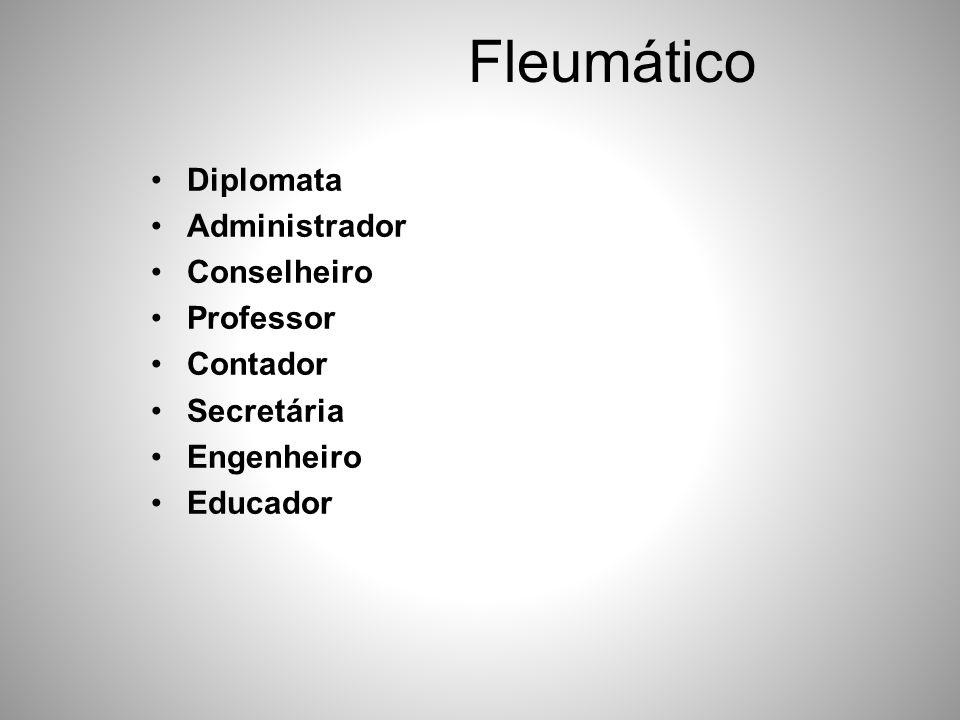 Fleumático •Diplomata •Administrador •Conselheiro •Professor •Contador •Secretária •Engenheiro •Educador