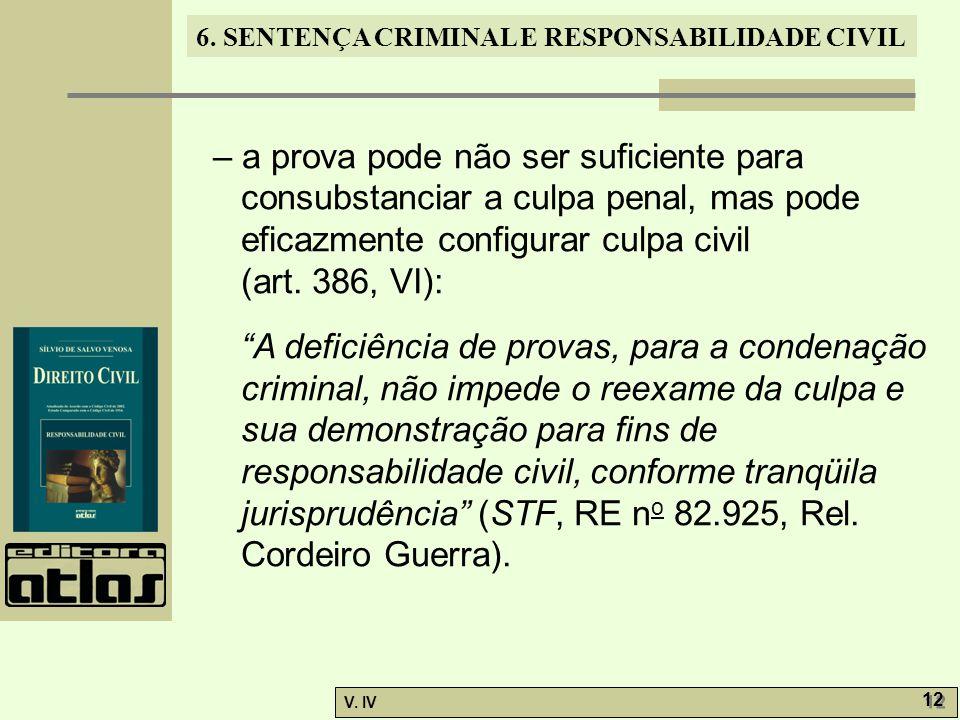 6. SENTENÇA CRIMINAL E RESPONSABILIDADE CIVIL V. IV 12 – a prova pode não ser suficiente para consubstanciar a culpa penal, mas pode eficazmente confi