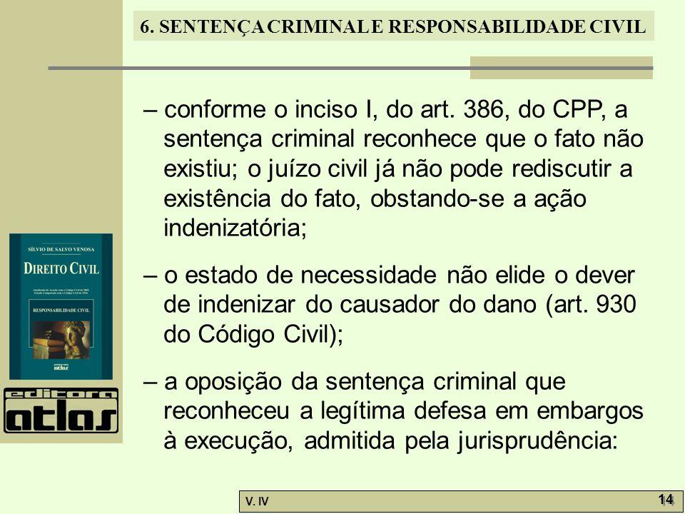 6. SENTENÇA CRIMINAL E RESPONSABILIDADE CIVIL V. IV 14 – conforme o inciso I, do art. 386, do CPP, a sentença criminal reconhece que o fato não existi