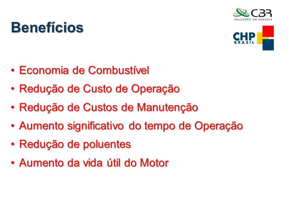 Benefícios •Economia de Combustível •Redução de Custo de Operação •Redução de Custos de Manutenção •Aumento significativo do tempo de Operação •Reduçã