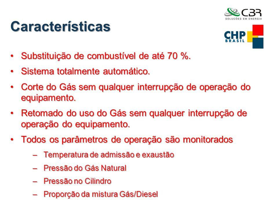 Características •Substituição de combustível de até 70 %. •Sistema totalmente automático. •Corte do Gás sem qualquer interrupção de operação do equipa