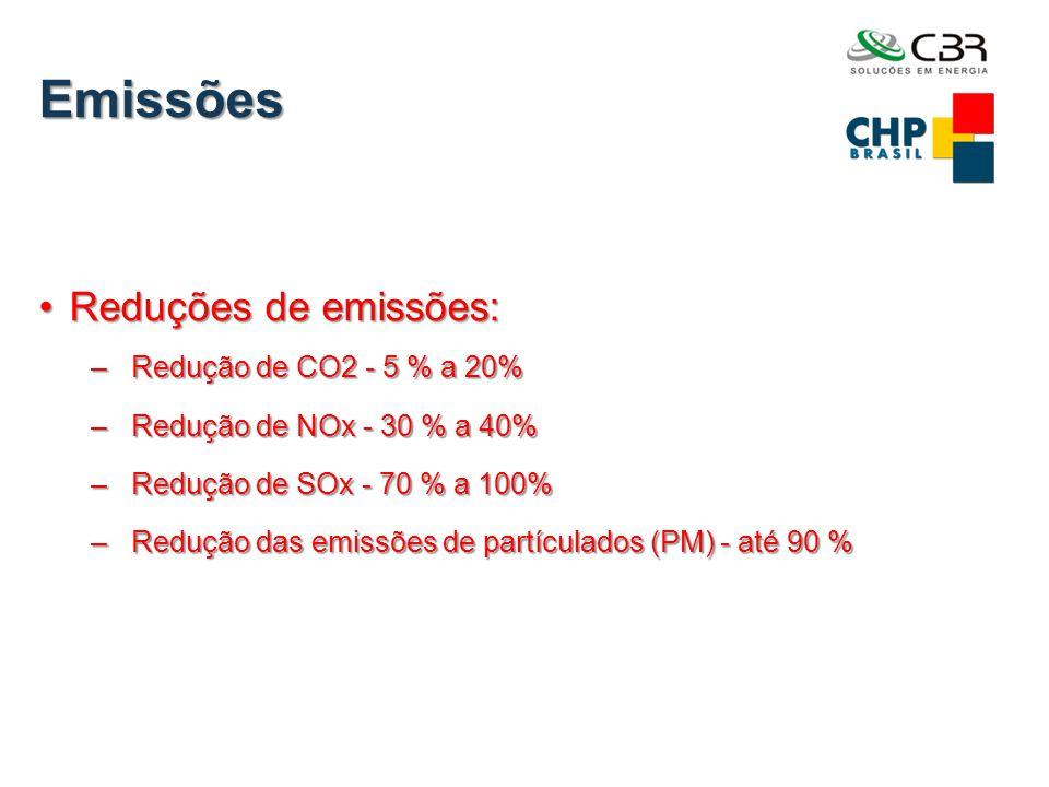 Emissões •Reduções de emissões: – Redução de CO2 - 5 % a 20% – Redução de NOx - 30 % a 40% – Redução de SOx - 70 % a 100% – Redução das emissões de pa