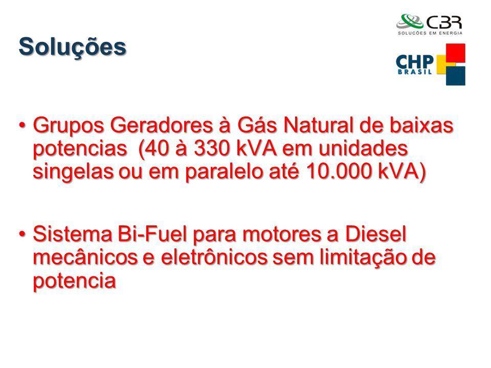 Soluções •Grupos Geradores à Gás Natural de baixas potencias (40 à 330 kVA em unidades singelas ou em paralelo até 10.000 kVA) •Sistema Bi-Fuel para m