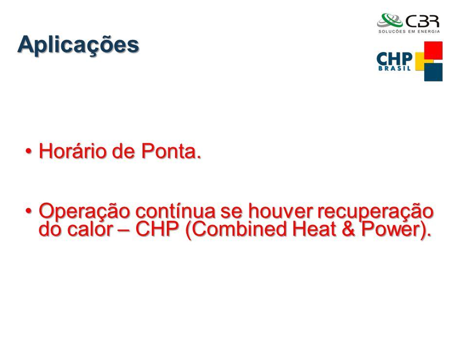 Aplicações •Horário de Ponta. •Operação contínua se houver recuperação do calor – CHP (Combined Heat & Power).