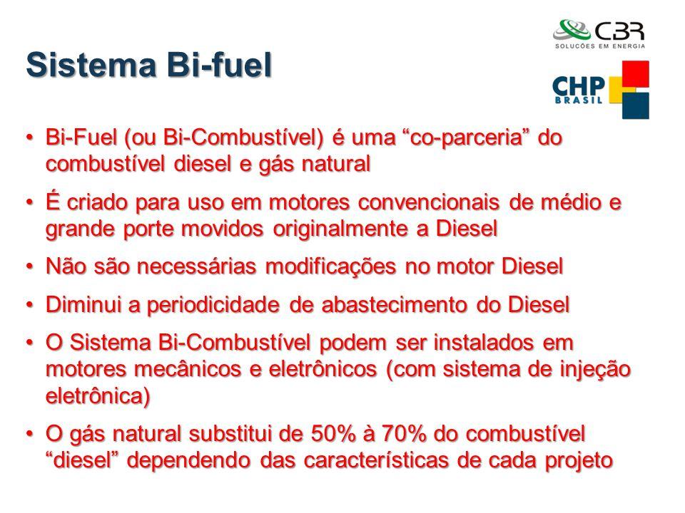 """Sistema Bi-fuel •Bi-Fuel (ou Bi-Combustível) é uma """"co-parceria"""" do combustível diesel e gás natural •É criado para uso em motores convencionais de mé"""