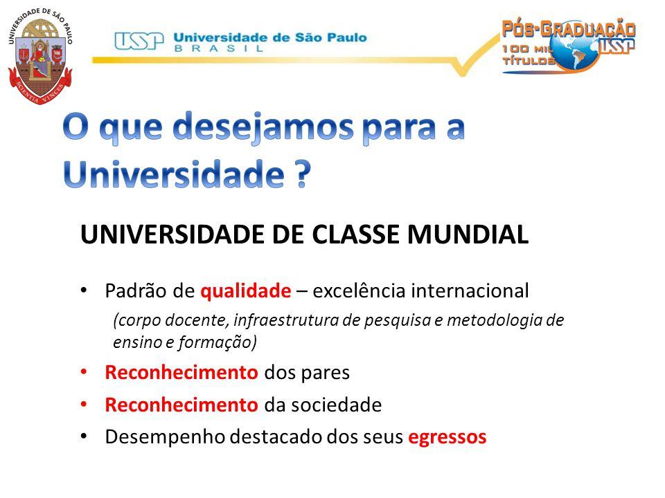 UNIVERSIDADE DE CLASSE MUNDIAL • Padrão de qualidade – excelência internacional (corpo docente, infraestrutura de pesquisa e metodologia de ensino e f