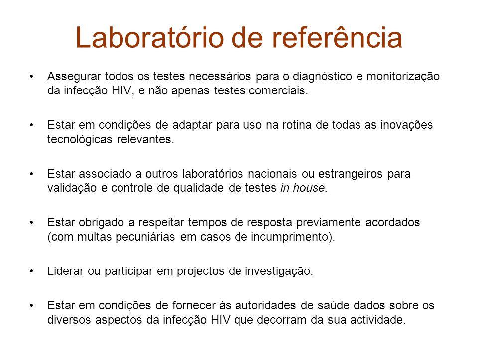 Laboratório de referência •Assegurar todos os testes necessários para o diagnóstico e monitorização da infecção HIV, e não apenas testes comerciais.