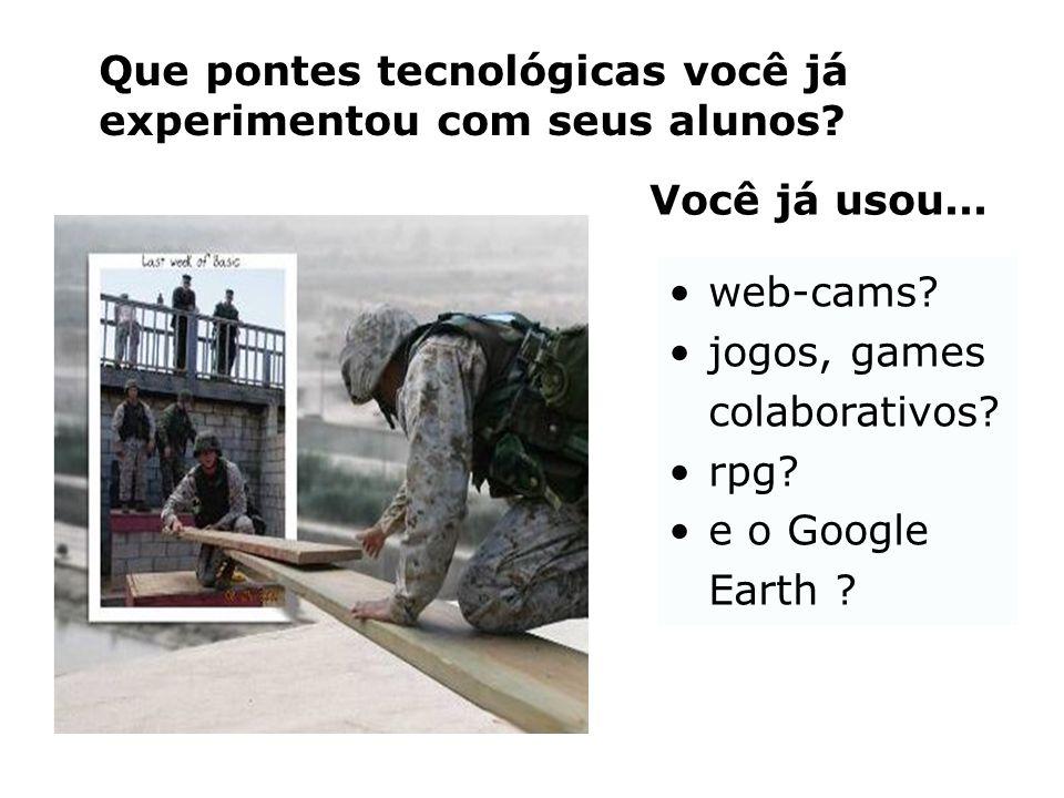 •web-cams? •jogos, games colaborativos? •rpg? •e o Google Earth ? Que pontes tecnológicas você já experimentou com seus alunos? Você já usou...