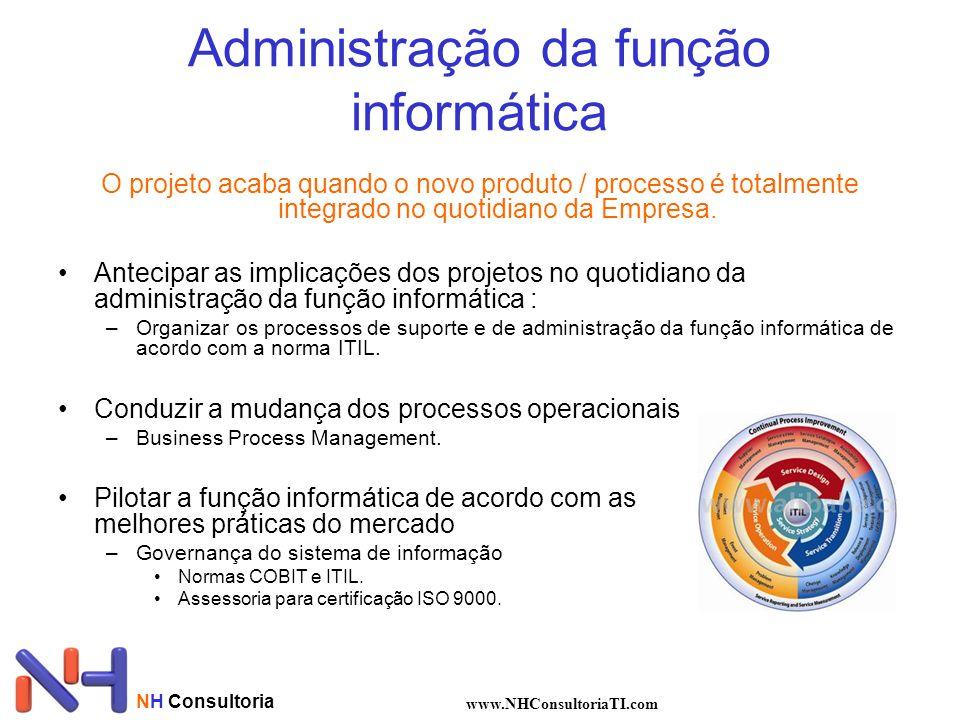 NH Consultoria www.NHConsultoriaTI.com Administração da função informática O projeto acaba quando o novo produto / processo é totalmente integrado no