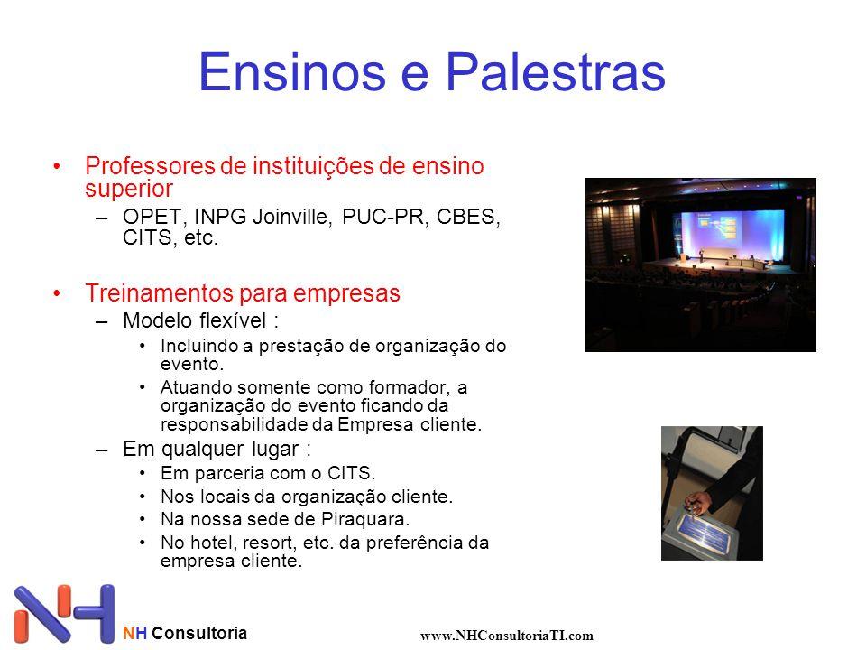 NH Consultoria www.NHConsultoriaTI.com Ensinos e Palestras •Professores de instituições de ensino superior –OPET, INPG Joinville, PUC-PR, CBES, CITS,