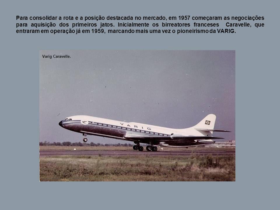 Para consolidar a rota e a posição destacada no mercado, em 1957 começaram as negociações para aquisição dos primeiros jatos.